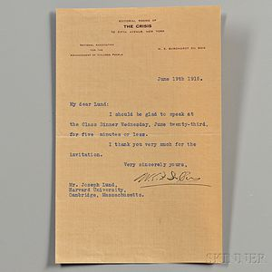 Du Bois, William Edward Burghardt (1868-1963) Typed Letter Signed, 19 June 1915.