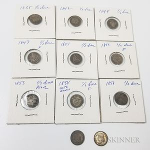 Three Capped Bust and Eight Seated Liberty Half Dimes