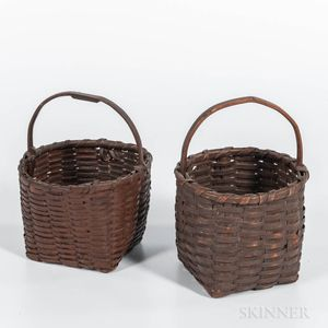 Two Brown-painted Splint Baskets