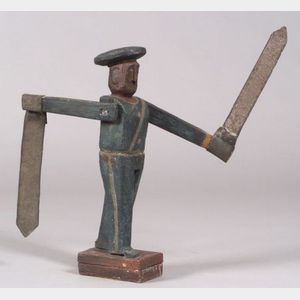Carved and Painted Wood and Tin Sailor Whirligig
