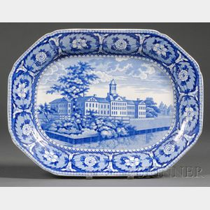 Historic Blue and White Transfer-decorated Staffordshire Pottery Platter