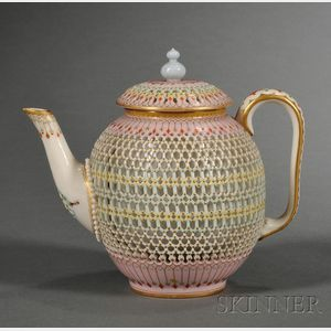 Royal Worcester Porcelain Reticulated Double-walled Teapot and Cover