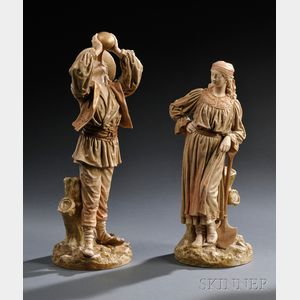 Pair of Royal Worcester Porcelain Roumanian Man and Woman Figures