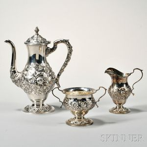 Three-piece Kirk & Son Sterling Silver Coffee Service