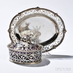 George III Silver Butter Dish, Cover, and Stand