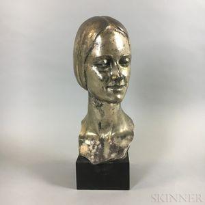 Edgardo Simone (New York, 1890-1958) Cast Metal Bust of a Woman