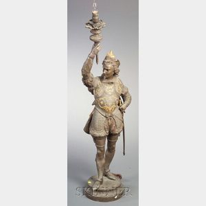Late Victorian Patinated White Metal Newel Post Figural Lamp