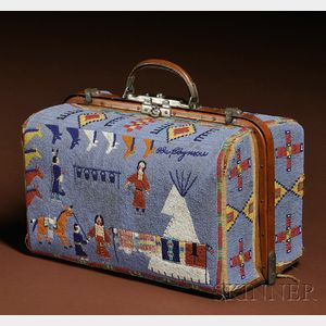 Sold for: $124,425 - Rare and Historic Plains Pictorial Beaded Suitcase
