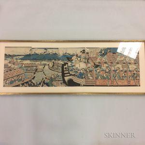 Utagawa Kunisada (Toyokuni III, 1786-1865) Woodblock Pentaptych