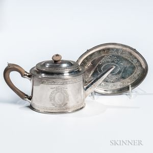George III Sterling Silver Teapot with Associated Stand