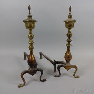 Pair of Brass and Iron Andirons.