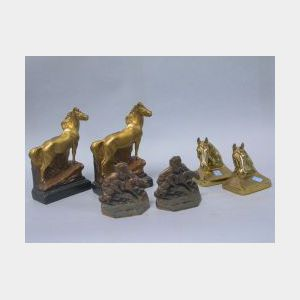 Three Pairs of Gilt-metal and Plaster Horse Bookends