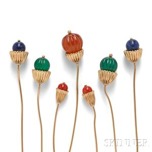 Seven 14kt Gold and Hardstone Hat Pins, Cartier
