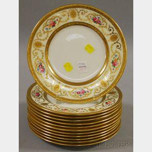 Set of Twelve Cauldon Gilt and Hand-colored Floral-decorated Porcelain Plates