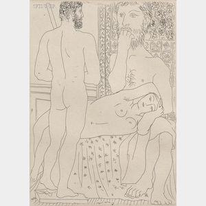 Pablo Picasso (Spanish, 1881-1973)      Sculpteur, modéle couché et sculpture