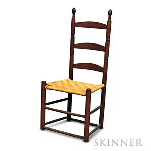Red-painted Slat-back Side Chair