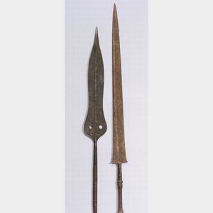 Two African Wood and Metal Spears