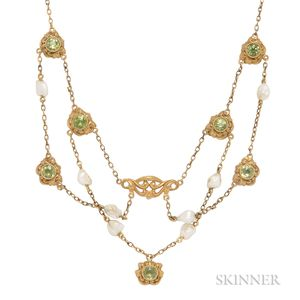 Art Nouveau 14kt Gold, Peridot, and Freshwater Pearl Necklace