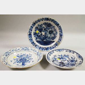 Three Dutch Delft Blue and White Floral-decorated Chargers