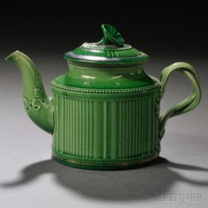 Staffordshire Cream-colored Earthenware Teapot and Cover