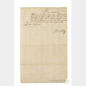 Dudley, Joseph (1647-1720) Document Signed, 9 July 1703.