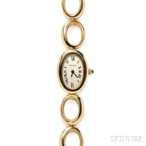 "Lady's 18kt Gold ""Baignoir"" Wristwatch, Cartier"