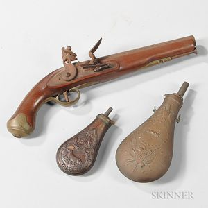 Reproduction British Flintlock Pistol and Two Powder Flasks