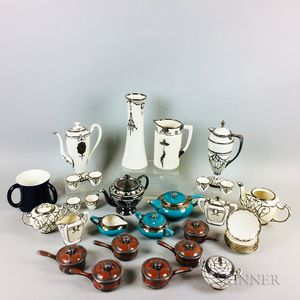 Thirty-two Silver Overlay Ceramic Tableware Items.