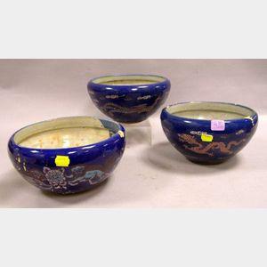 Set of Three Chinese Enamel Decorated Ceramic Censers.