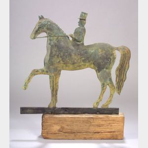Molded Copper Horse and Rider Weather Vane