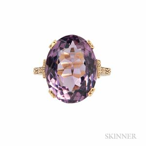 Art Deco 14kt Gold and Amethyst Ring