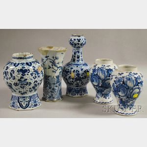 Five Dutch Delft Blue and White Floral-decorated Ceramic Vases