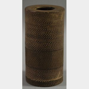 Italian Mid-century Modern Cylindrical Glazed Art Pottery Vase
