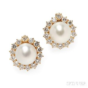 18kt Gold, South Sea Pearl, and Diamond Earclips