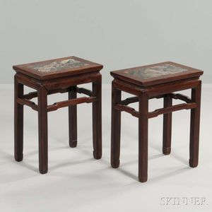 Pair of Marble-top Hardwood Stands