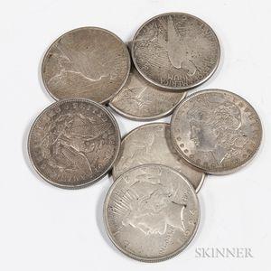 Seven Morgan and Peace Dollars