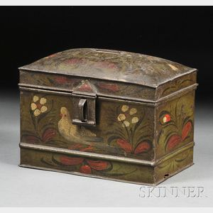 Paint-decorated Tinware Dome-top Box