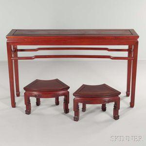 Hardwood Corner-leg Table and Pair of Fan-shaped Stools