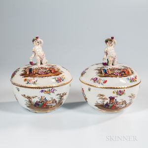 Pair of KPM Berlin Porcelain Covered Punch Bowls