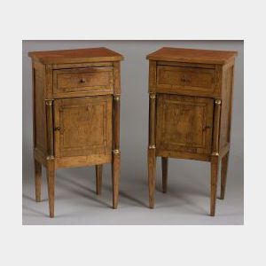 Pair of Italian Neoclassical Marquetry Inlaid Fruitwood Night Tables