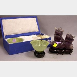 Chinese Carved Purple Fluorite Figural Dragon and a Pair of Chinese Green Soapstone   Bowls