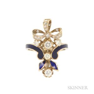 14kt Gold, Enamel, and Diamond Bow Ring