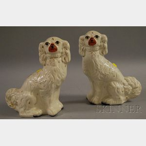 Pair of Staffordshire Seated Spaniel Figures