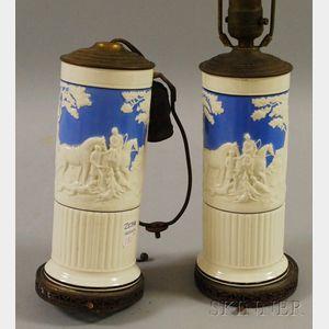 Pair of Wedgwood Queen's Ware Dye Ken John Peel Pattern Vase/Table Lamps