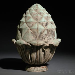 Molded Copper Pineapple-form Architectural Finial