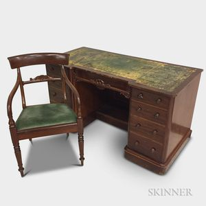 Victorian Leather-top Mahogany Veneer Desk and a Late Regency Armchair