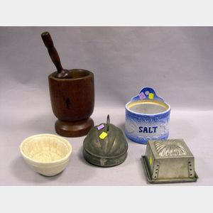 Glazed Stoneware Salt Box, Pottery Sheaf of Wheat Pudding Mold, Two Tin Molds and a Wooden Mortar and Pestle.