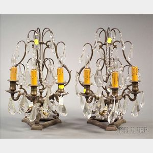 Pair of Bronze Empire Revival Three Light Mantel Lustres