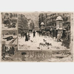 Félix Hilaire Buhot (French, 1847-1898)      L'Hiver à Paris