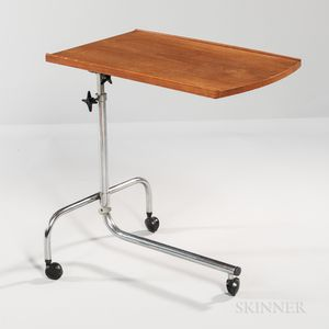 Danish Modern Teak and Chrome Adjustable Reading Table on Casters